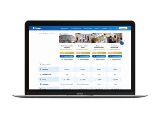 Laptop mit Übersicht Studiengaenge und Weiterbildungen vergleichen